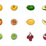 水果插画图标 V.4(AI,EPS,PNG,PSD)