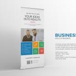 时尚高端简约商业商务质感X展架易拉宝设计模板