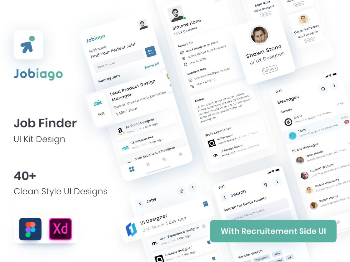 Jobiago-高级求职者应用程序UI工具包fig