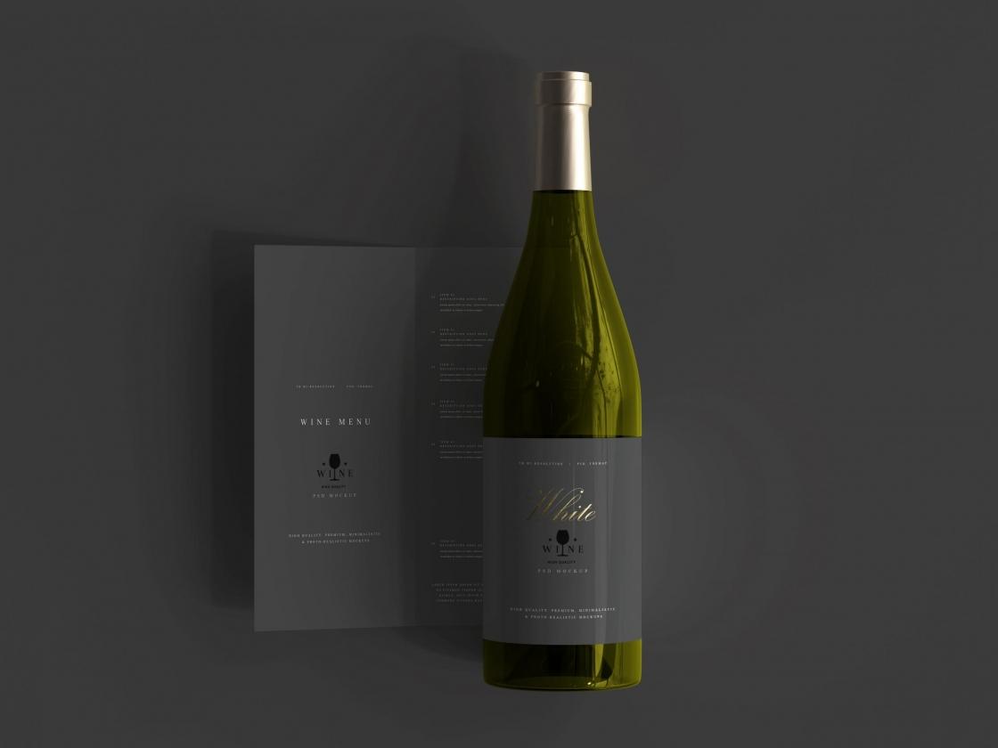 带有菜单模型高级 Psd 的白葡萄酒瓶