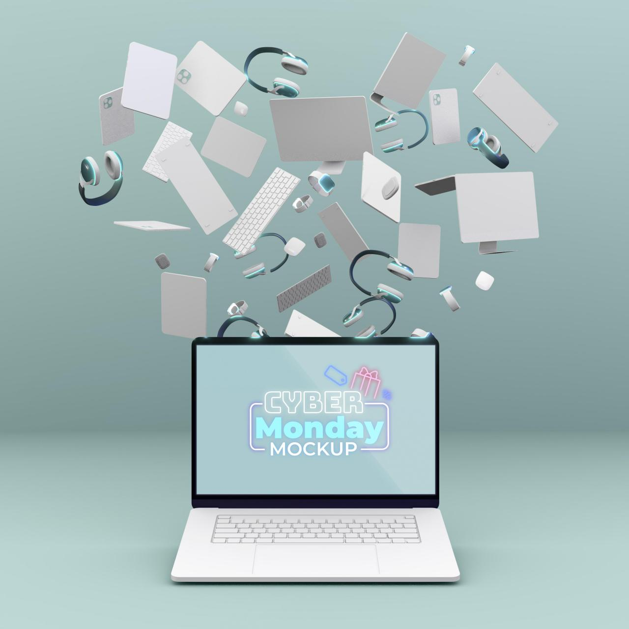 网络星期一笔记本电脑销售模拟与各种设备免费Psd
