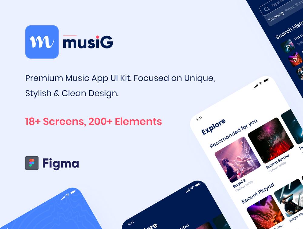 FIGMA iOS的UI套件,Musig – 音乐应用程序UI工具包