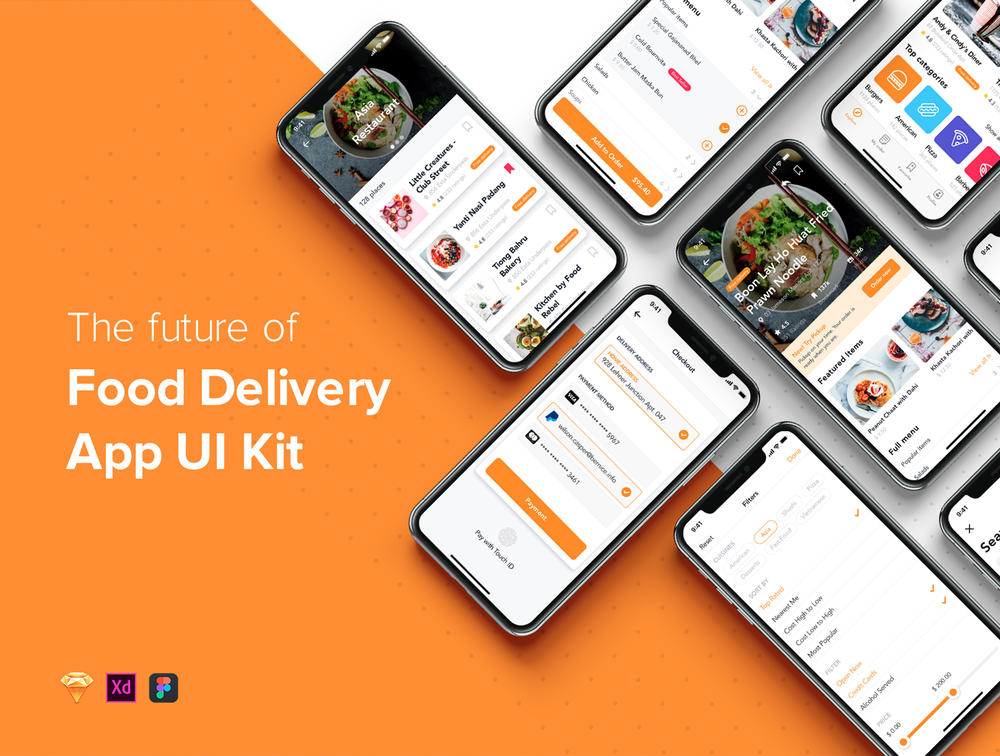 Food Delivery移动应用UI工具包,Fozzi – Food Delivery移动应用UI工具包