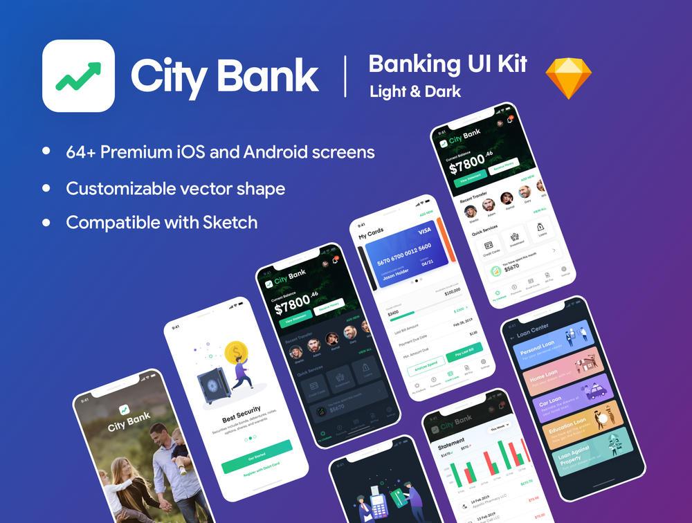 City Bank Light and Dark App UI套件,City Bank Light和Dark App UI套件
