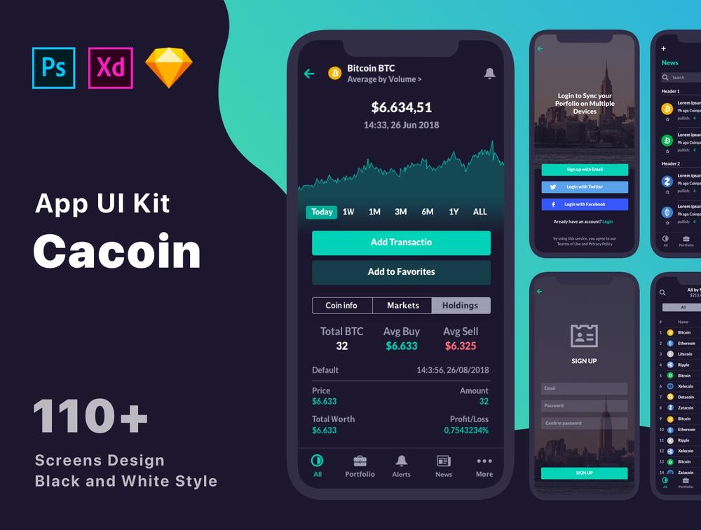 110+ Screen UI Kit Coin Cryptocurrency Market App在Sketch,Photoshop,Adobe XD,CaCoin Crypto Market比特币中的应用