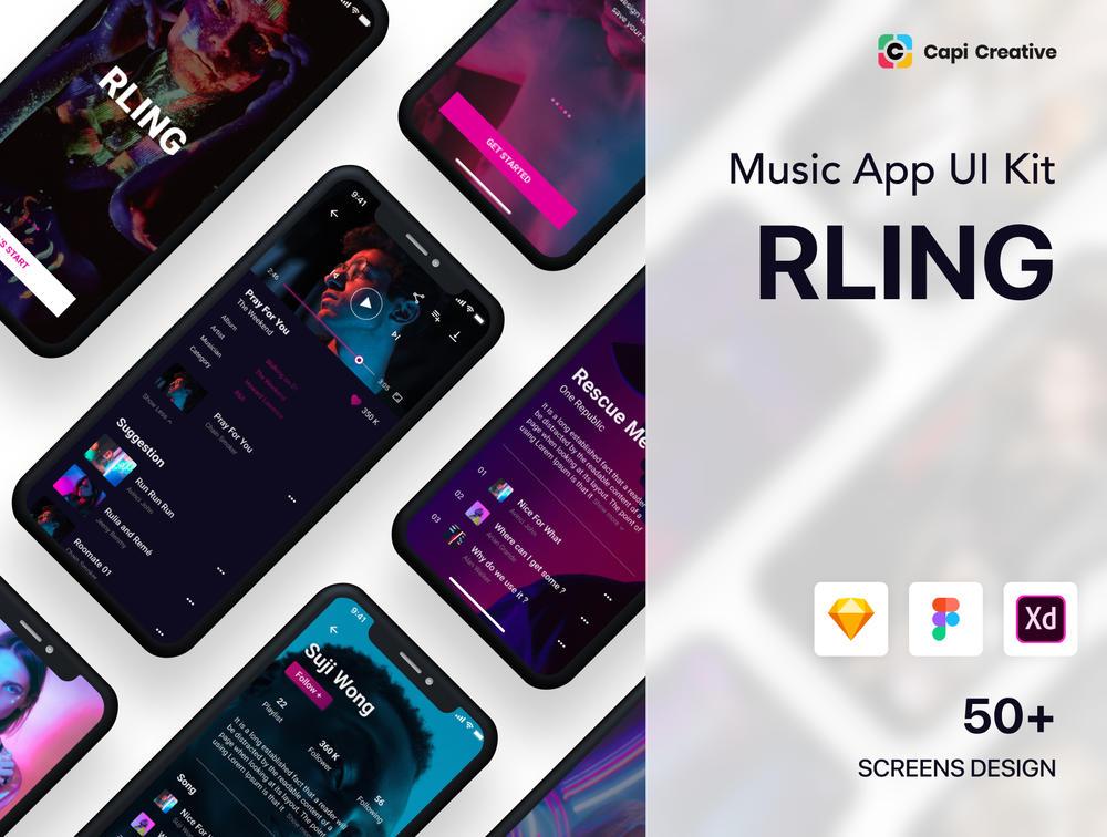 50+音乐应用程序屏幕UI套件设计素描,Figma和XD,RLing-惊人的音乐应用UI工具包