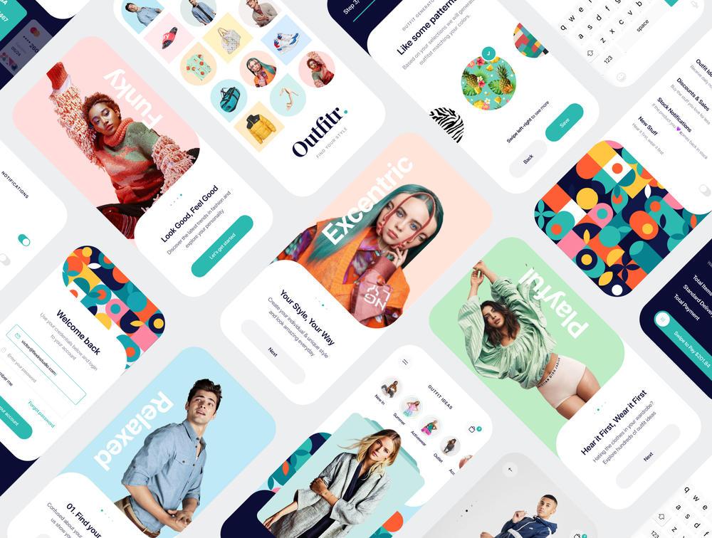 30+优质时尚的屏幕 – UI套件的figma,素描和XD的Adobe,Outfitr – 时尚UI套件