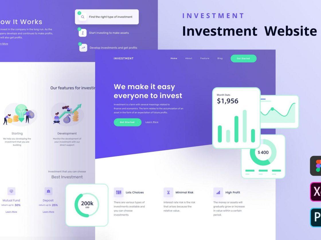 投资网站主页设计模板[FIG,PSD,XD]