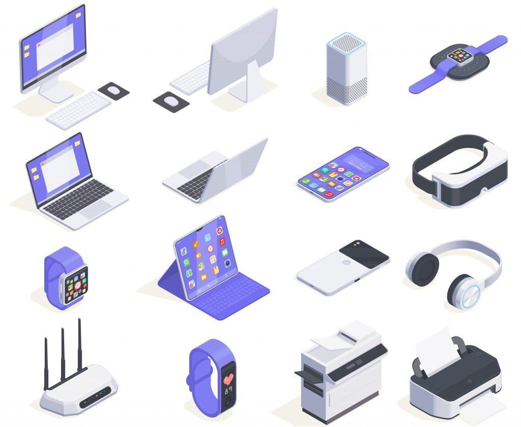 现代设备等距图标集合与计算机外围设备和各种消费电子插画免费矢量十六个孤立的图像