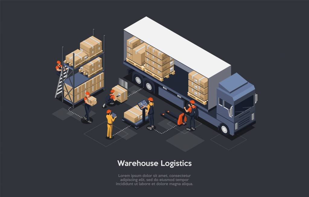 等距仓库物流概念。现代仓库内部,运输车辆的装卸过程。货物运输设备。插图 矢量
