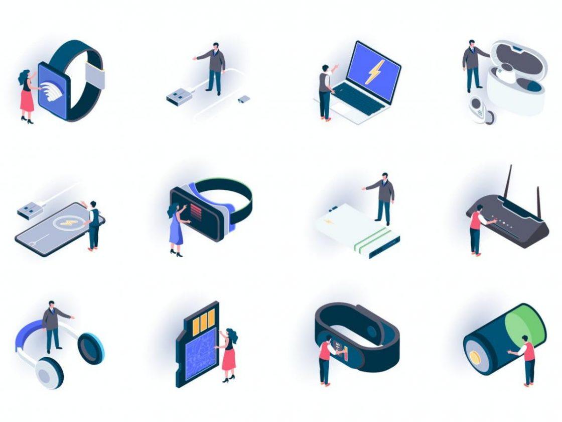 3D立体2.5D等轴等距VR设备icon图标集合