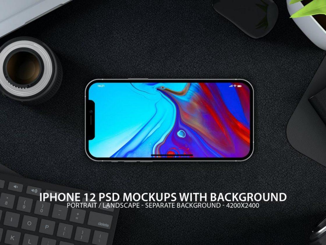 高品质的iPhone 12 APP UI样机展示模型mockups