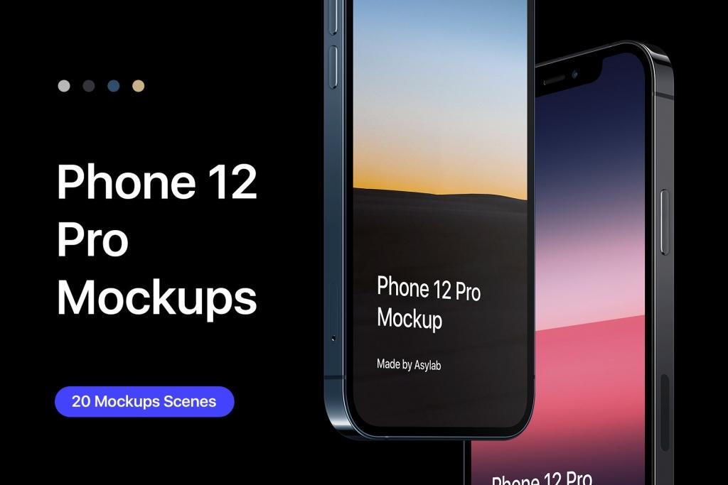 iPhone 12 Pro苹果手机20个样机场景素材