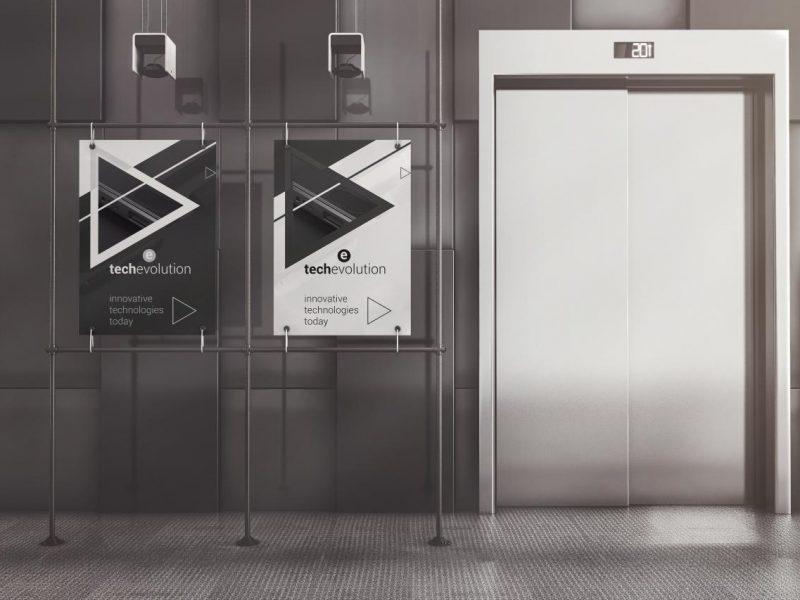 电梯海报广告框架样机[PSD]
