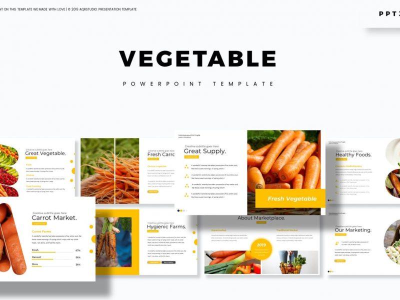 高品质的时尚清新蔬菜大数据powerpoint幻灯片演示模板(pptx)