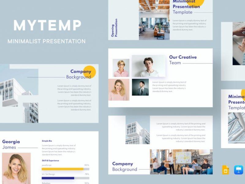 极简主义清新风格企业PPT模板